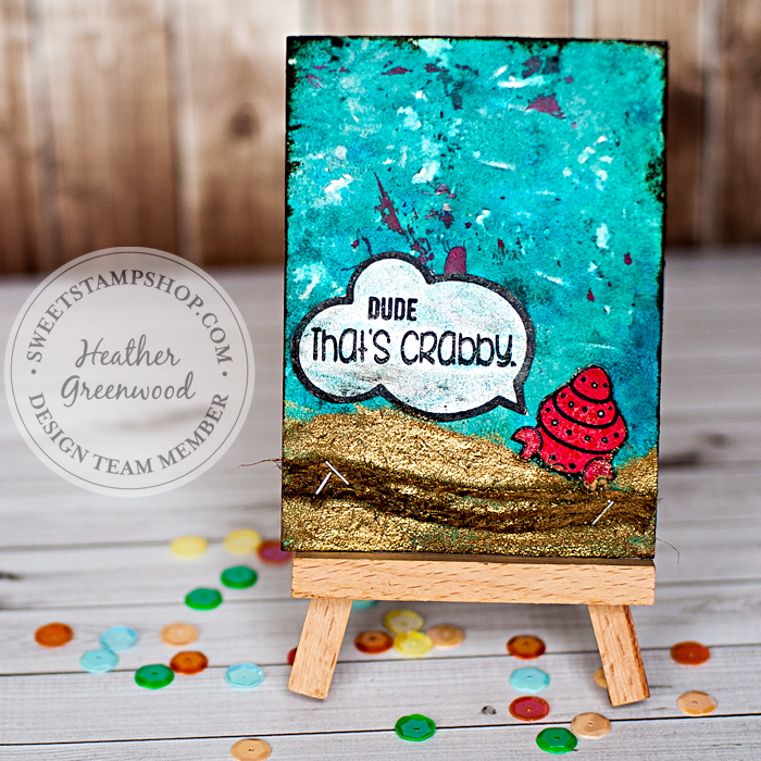 Heather Greenwood Designs | Sweet Stamp Shop | Art Journal Pocket Scrapbook Card | Dude, That's Crabby
