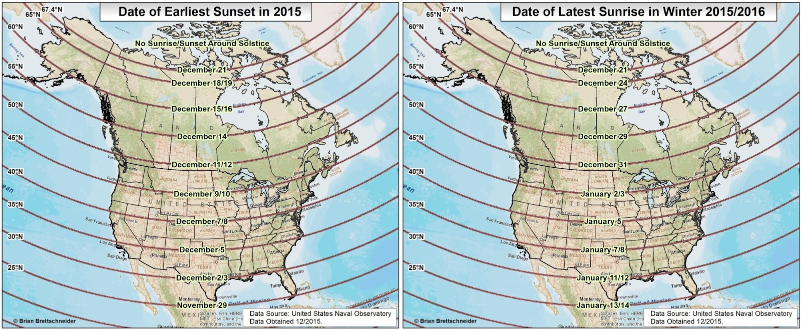 Dates for earliest sunset and latest sunrise in North America this winter
