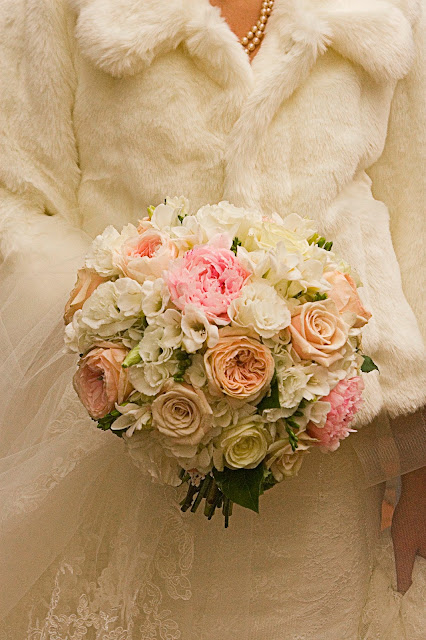 Isha Foss Events Romantic Hydrangea, Peony, Garden Roses, and Freesia bouquet in antique tones