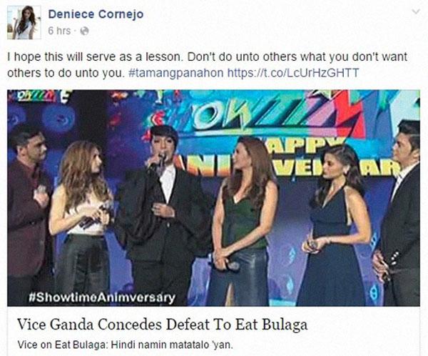 Deniece Cornejo message to Showtime vs Eat Bulaga trends online
