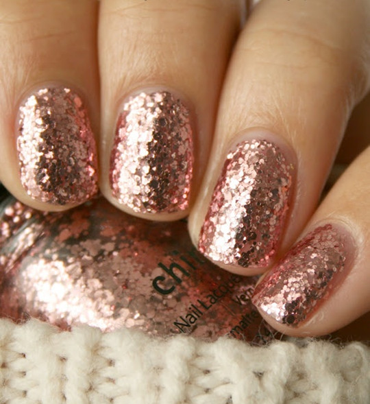 Rose Gold Glitter beauty cute wedding nails ideas 2016