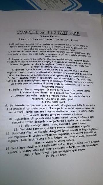 deberes, profesor iraliano, verano, Cesare Catá