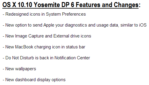 OS X Yosemite 10.10 Developer Preview 6 Features and Changes