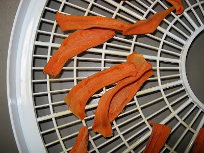 dried carrot chips from mandolin slices