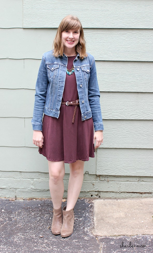 burgundy dress with jean jacket and ankle boots | www.shealennon.com