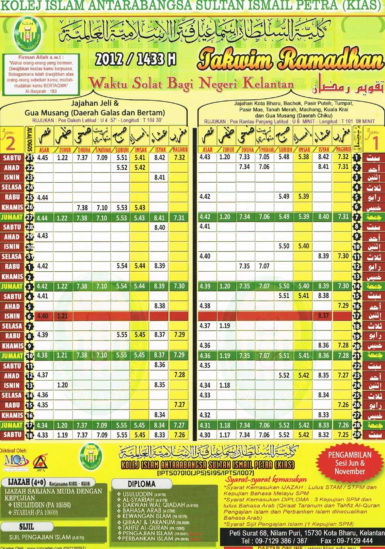 Takwim Ramadhan 2012 / 1433 H