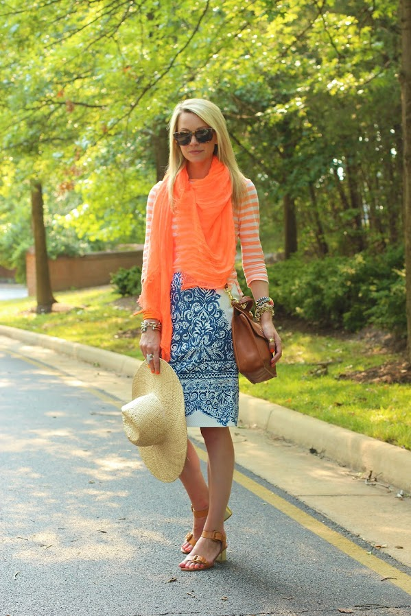 atlantic pacific color summer jcrew skirt stripes neon scarf