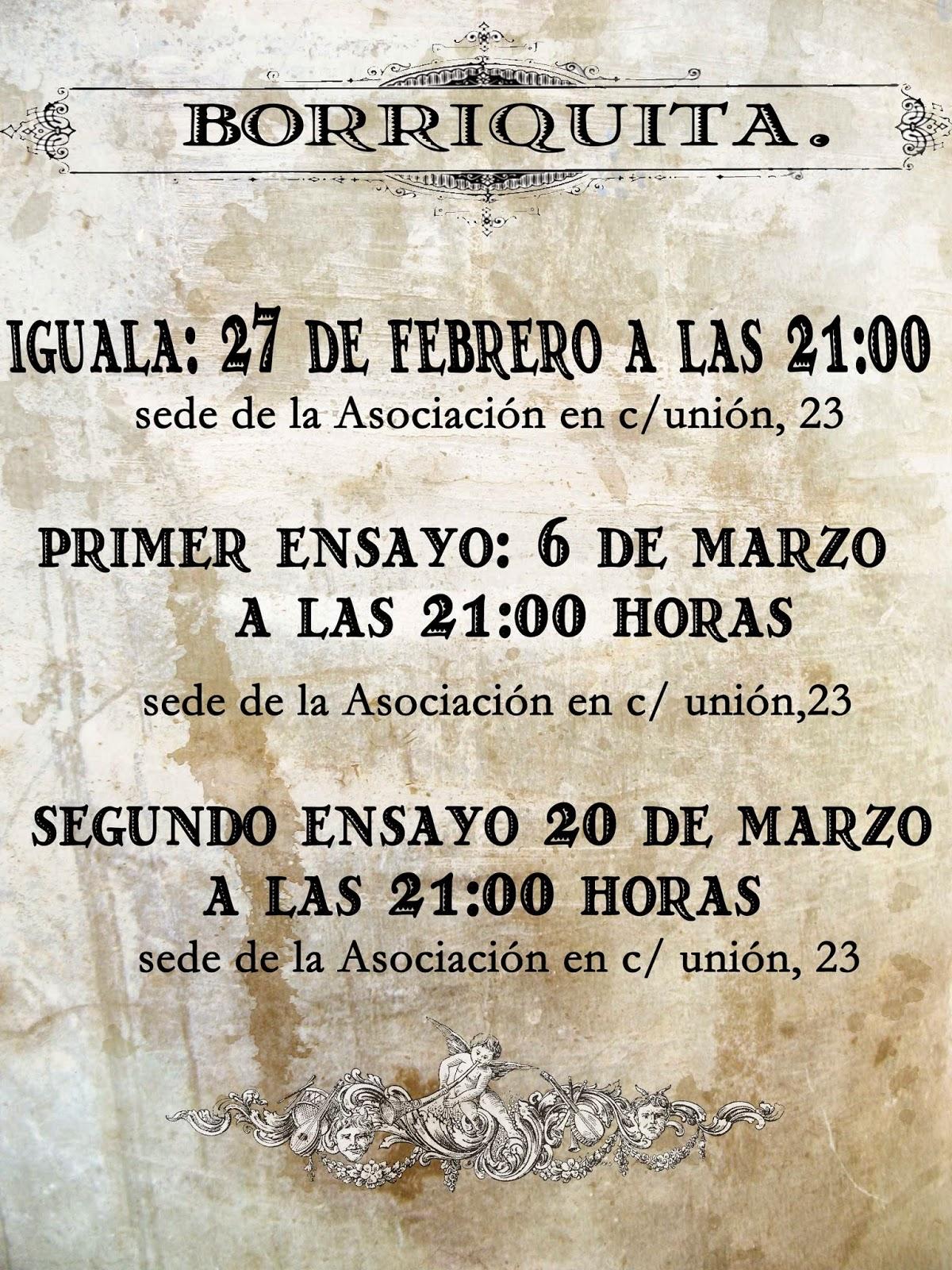 Calendario Ensayos Borriquita