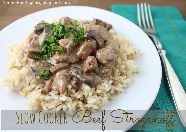 Slow Cooker Beef Stroganoff   Yummy Healthy Easy
