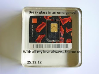Mobile Phone SIM card in a paperweight