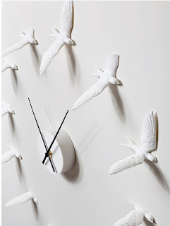 picture of clock where numbers are replaced by white sparrows.