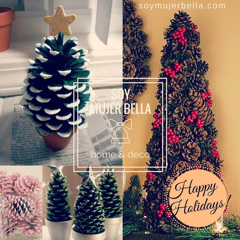 Rbol de navidad con pi as diy soy mujer bella - Pinas decoradas para navidad ...