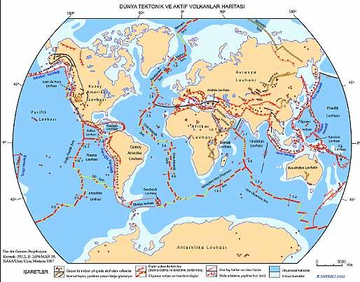 D�nya Tektonik ve Aktif Volkanlar Haritas�