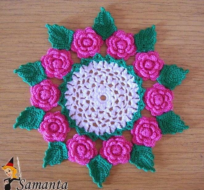 Carpeta floral con lindo diseño ganchillo crochet