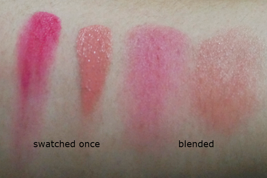 Swatch: NYX Rouge Cream Blush in Red Cheeks and Rose Petal