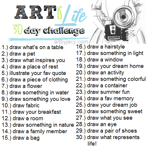 30 Day Writing Challenge List Art is Life / 30 Day Challenge