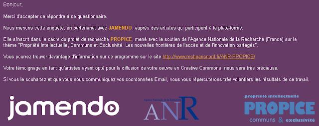 Propice et l'enquête sociologique des artistes sur Jamendo