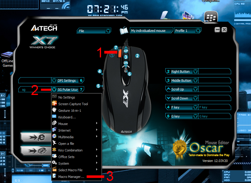 Setting Mouse Macro A4 Tech X7 XL-747H
