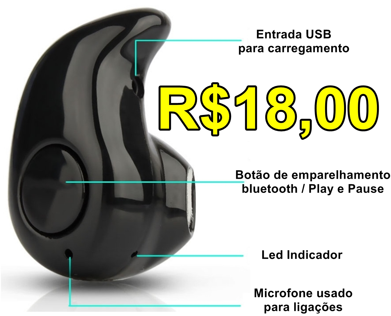 Mini Fone de Ouvido Bluetooth