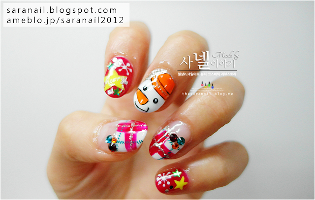 Cute Red Winter nail art, winter nails, snowman nail art, red check pattern nail art