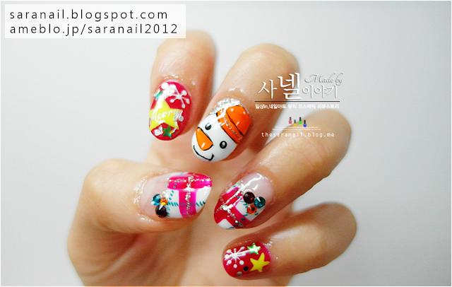 Cute Red Winter nail art, winter nails, snowman nail art, red check pattern nail art