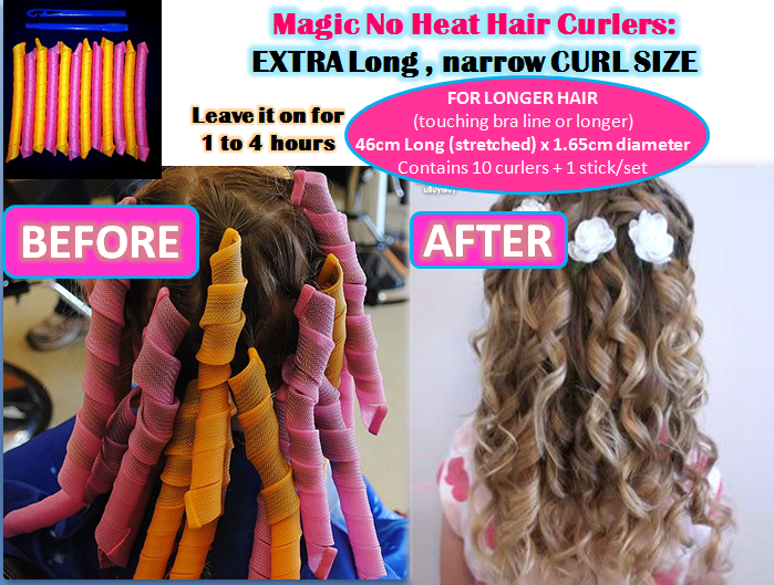 Magic No Heat Hair Curlers Standard Extra Large And