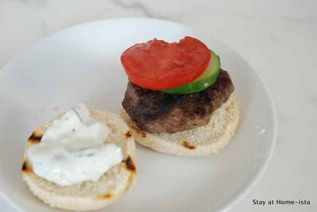 lamb slider with yogurt raita, tomato and cucumber