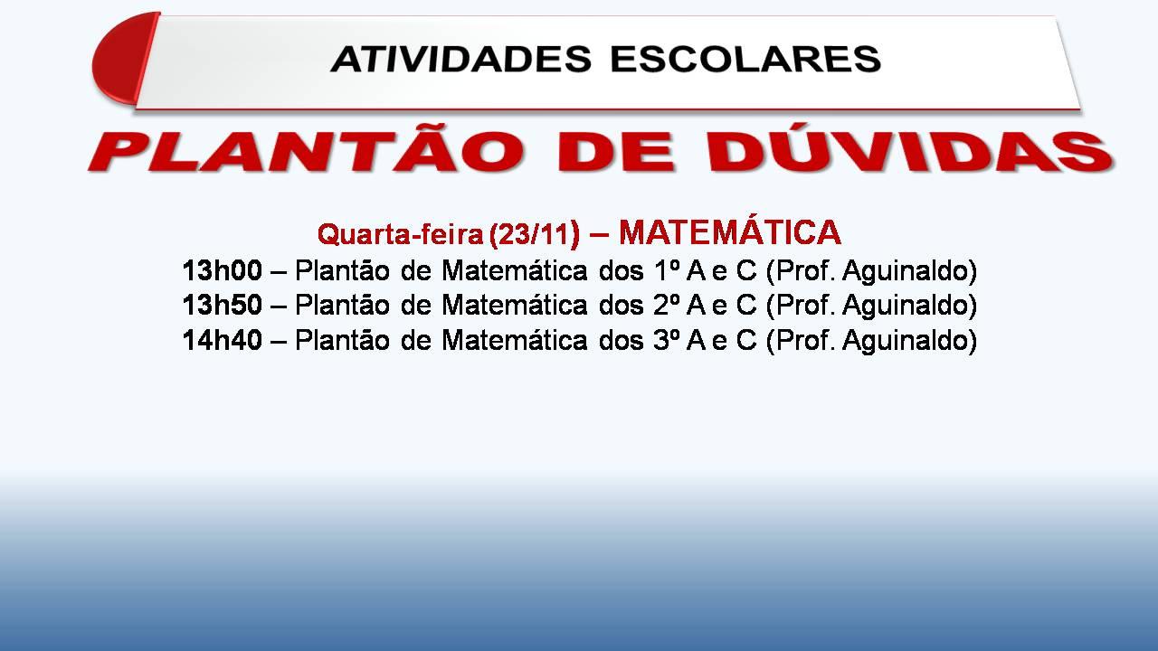 PLANTÃO DE MATEMÁTICA