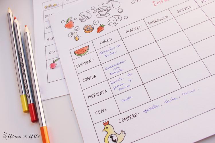 Planificador de menú semanal para niños