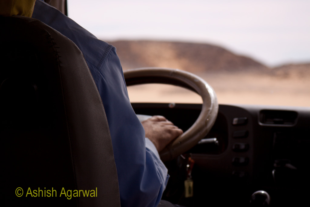 Driver of the vehicle taking us from Aswan to Abu Simbel, a hour drive in South Egypt