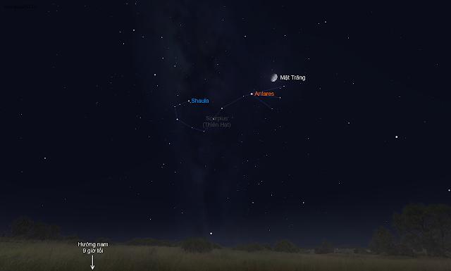 Mặt Trăng đến gần ngôi sao Antares - Trái tim của con bọ cạp Scorpius. Hình minh họa bởi phần mềm Stellairum.