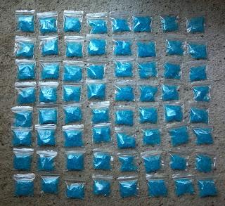 blue raspberry rock candy in little bags