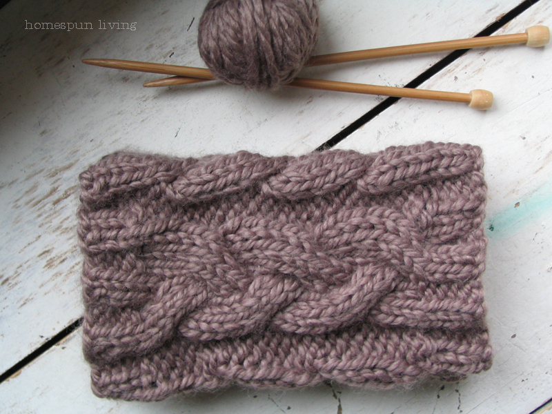 homespun living: homespun cabled boot cuffs ~ in the round