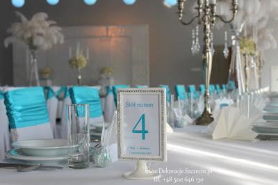 dekoracja sali weselnej w kolorze Tiffany Blue