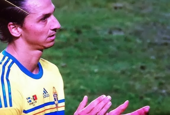 Zlatan Ibrahimović is pictured clapping following Cristiano Ronaldo's third goal against Sweden