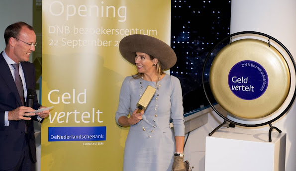 Queen Maxima of The Netherlands opens the new visitors centre of De Nederlandse Bank (DNB) in Amsterdam,