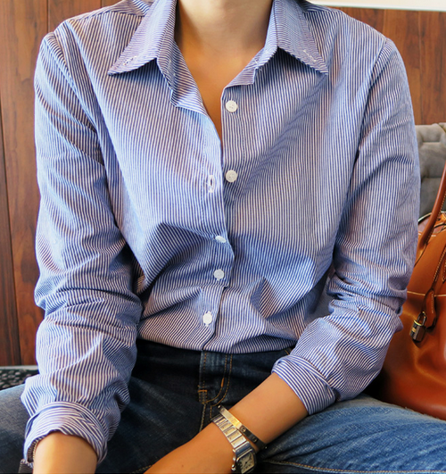 Pinstripe Button-Down Collared Shirt