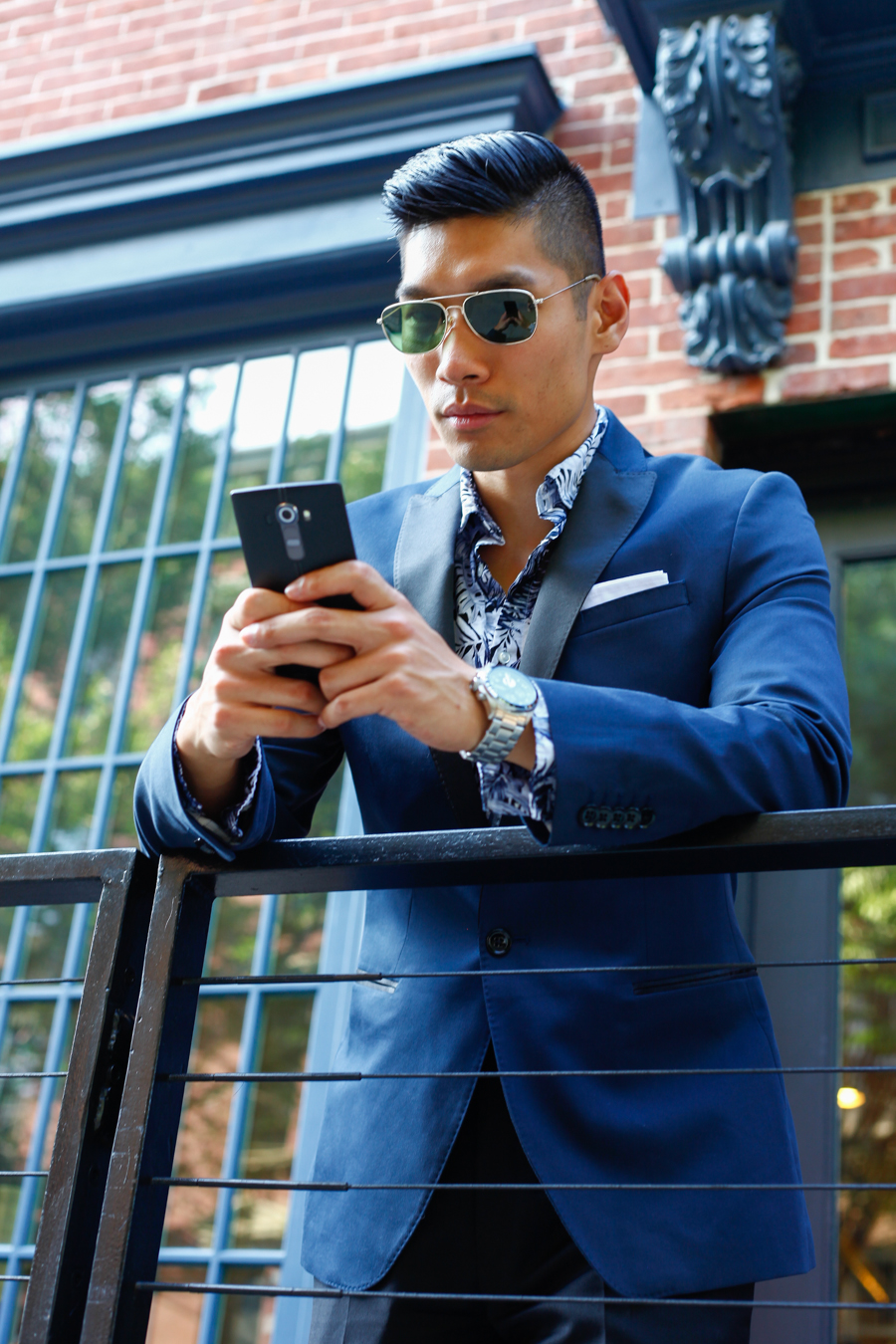 Levitate Style Tux & Floral NYFWM | Express Tuxedo paired with Floral Shirt, GQ LG G4, Fossil Chronograph Watch