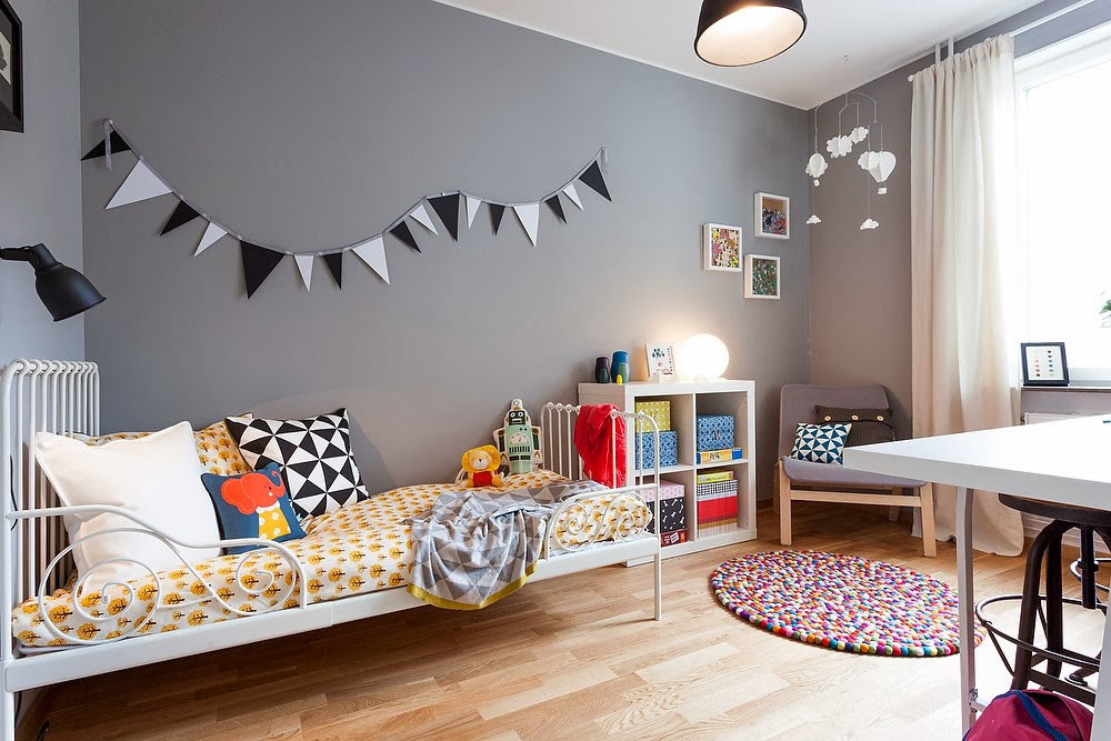 amenajari, interioare, decoratiuni, decor, design interior, camera copii, gri,
