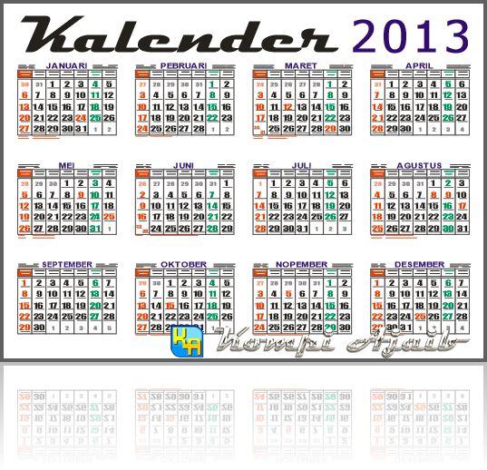 Download Template Kalender 2013 Indonesia Lengkap v2