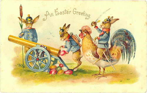 A Militaristic Message For Easter Complete With Sabres And Cannon Although This One Fires Eggs Note The Prussian Helmets Card Is German In Origin