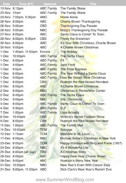 2015 Schedule of Christmas and Holiday TV Specials