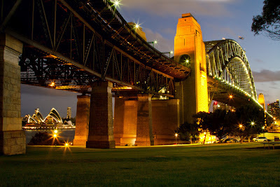 A photograph of the Harbour Bridge and Opera House in Sydney, Australia