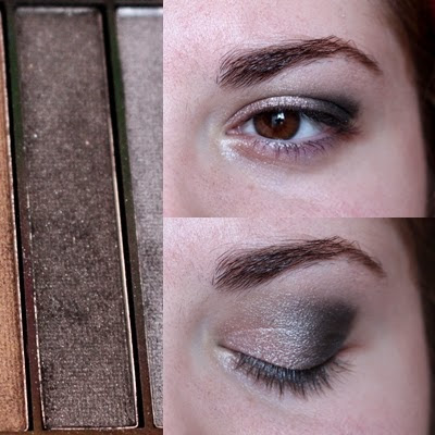 2eme étape du maquillage: travaille du creux et du dernier tiers de la paupière avec le fard noir irisé de la palette Iconic 1