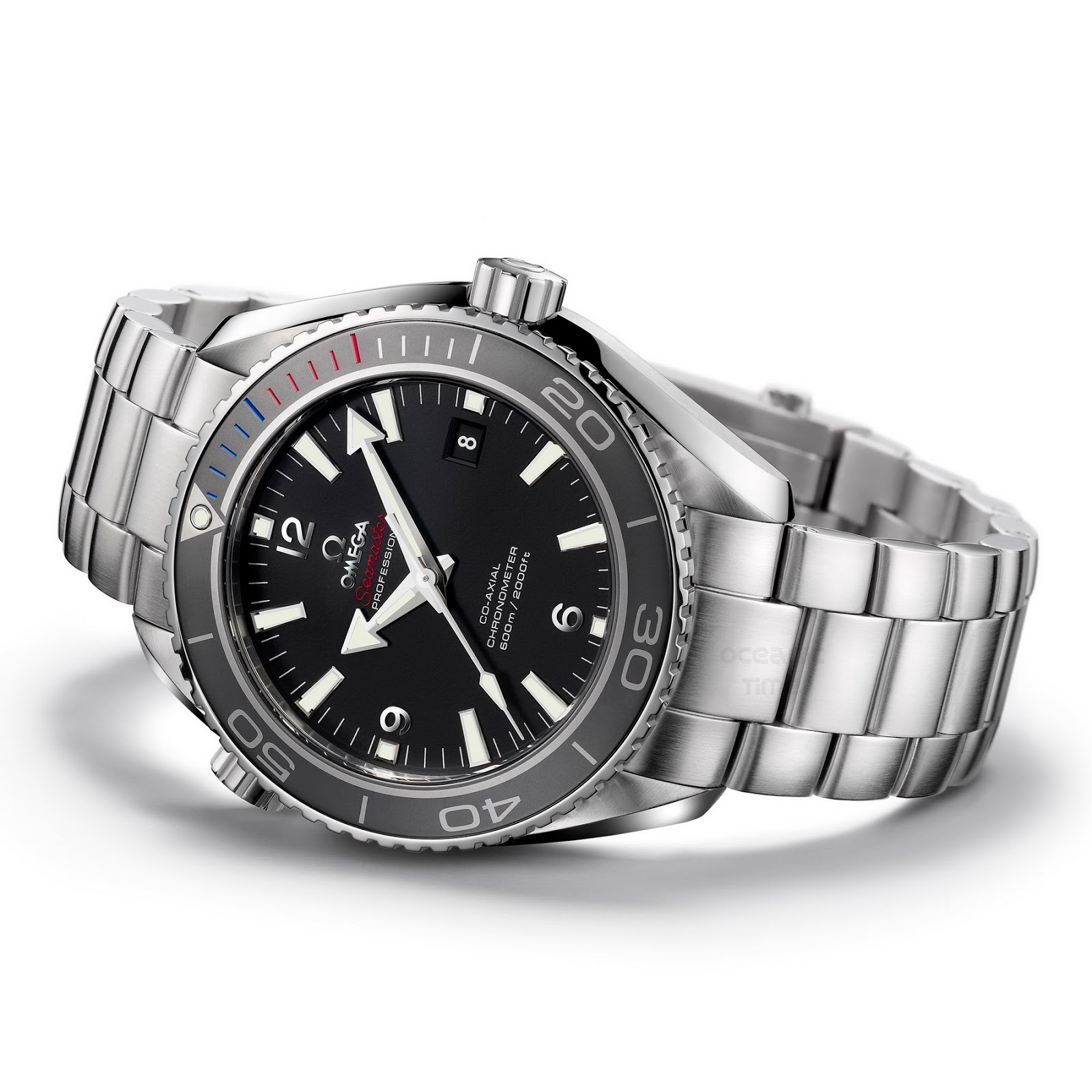 watch steel men black watches dial s ocean omega stainless planet automatic