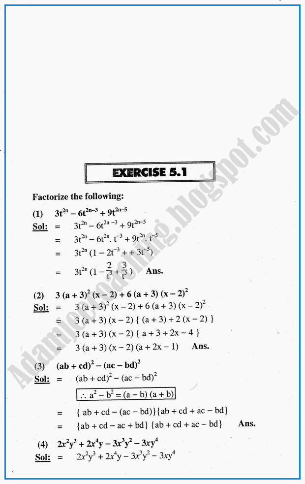 Adamjee Coaching: Exercise 5.1 - Factorization, HCF, LCM ...