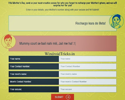 free recharge contest form