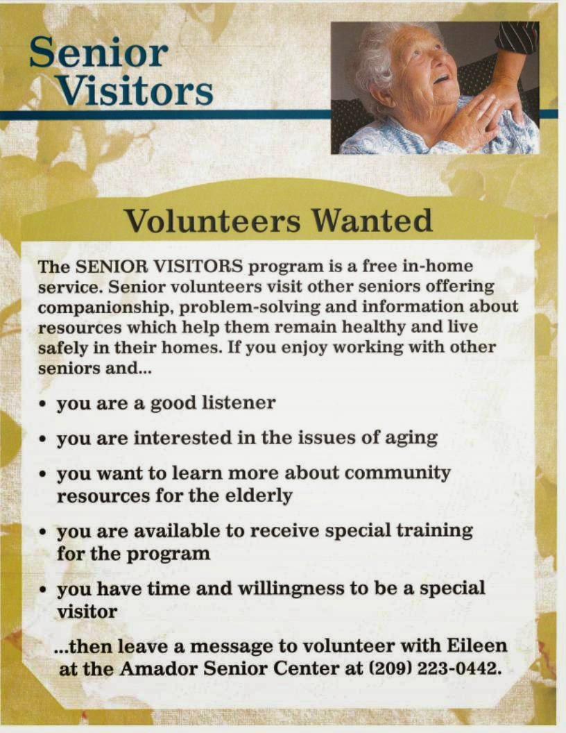 Senior Visitors Program - Contact Eileen at 223-0442