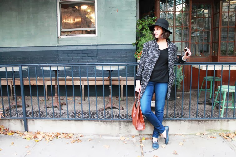 Stephanie Boridy Rag & Bone loafers Acne denim Free People tweed coat Topshop wide brim hat