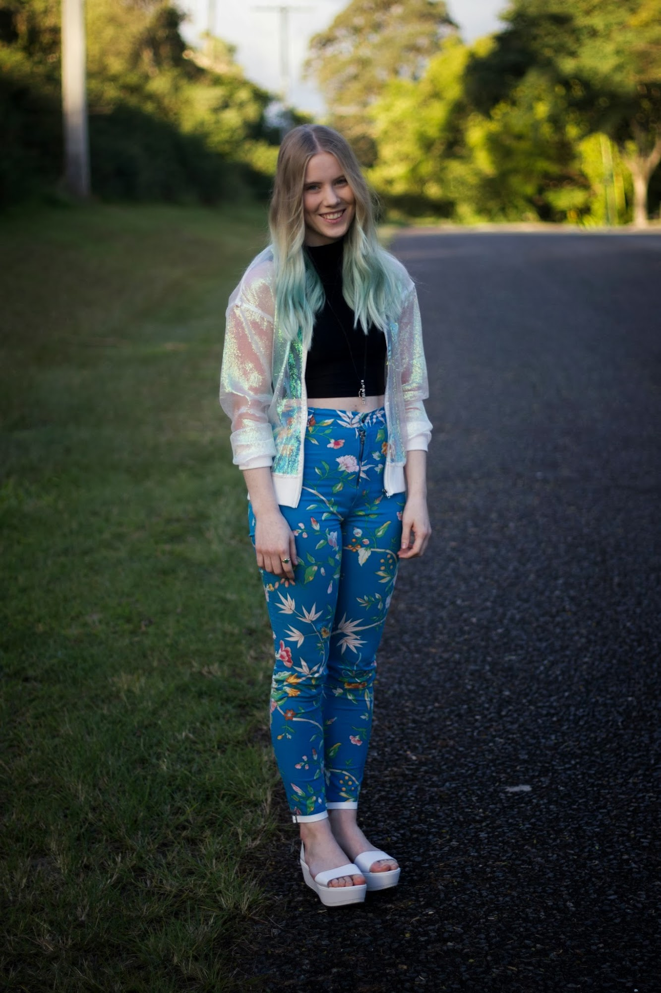 iridescent bomber jacket, shimmery jacket, sheer, white bomber, front row shop coloured yarn jacket, vintage floral pants, topshop white flatform sandals, blue ombre hair, pastel dip dye,